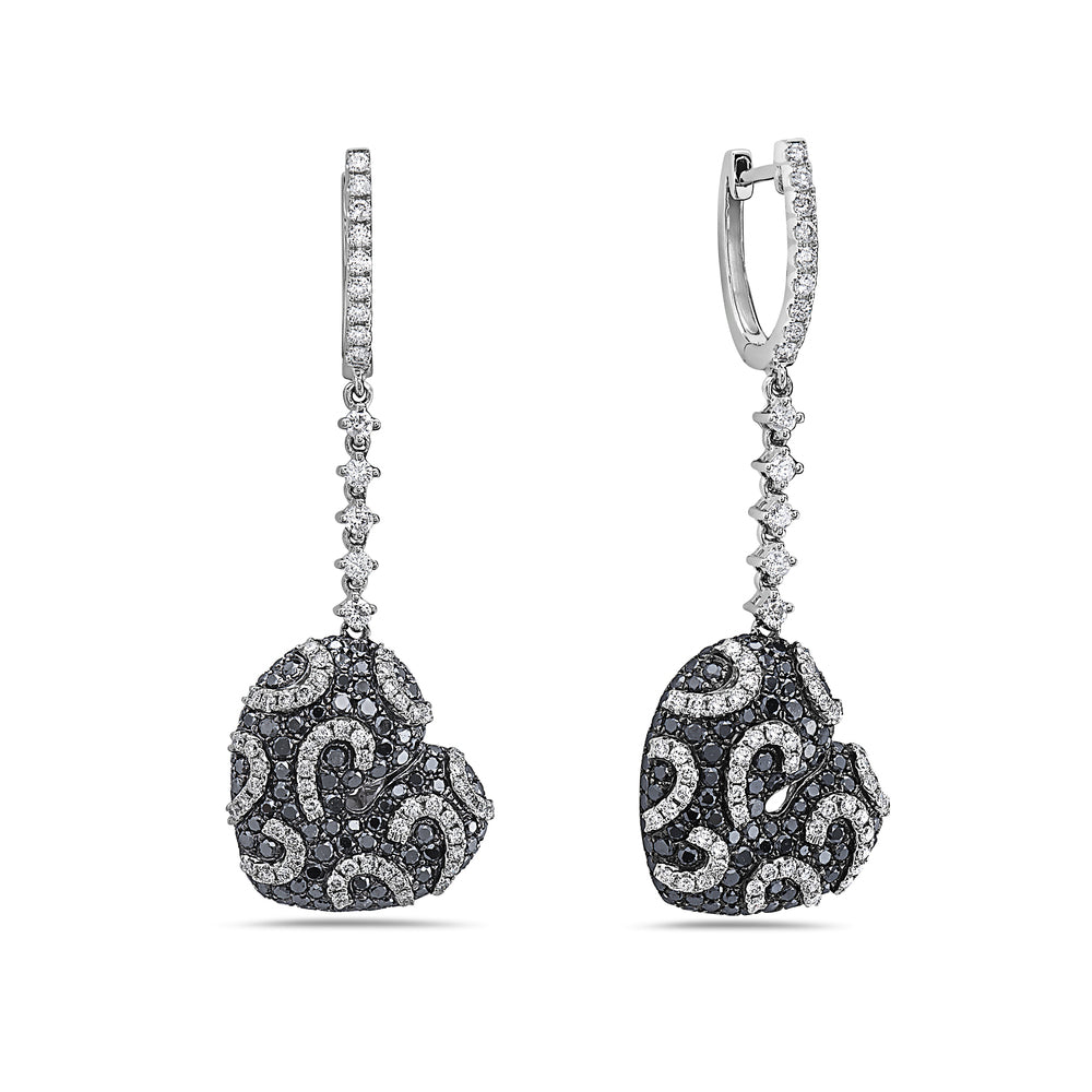 18K White Gold Ladies Earrings With 3.52 CT Diamonds