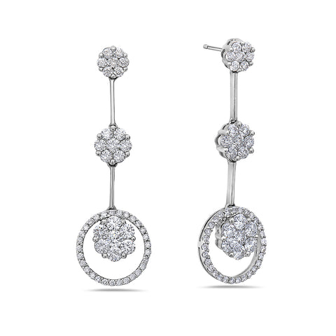 18K White Gold Ladies Earrings With 2.38 CT Diamonds