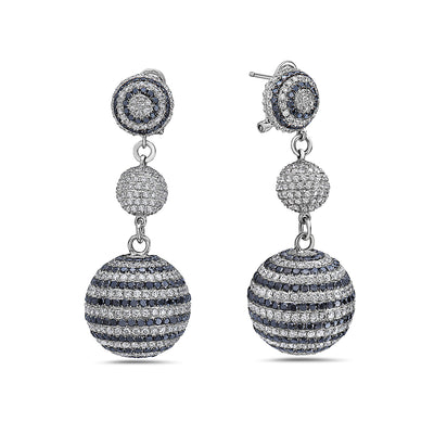 18K White Gold Ladies Earrings With 19.20 CT Diamonds