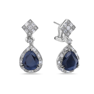 18K White Gold Ladies Earrings With White: 2.29 CTW Sapphire: 8.60 CTW Diamonds