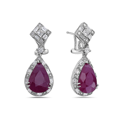18K White Gold Ladies Earrings With White: 2.34 CTW Ruby: 9.00 CTW Diamonds