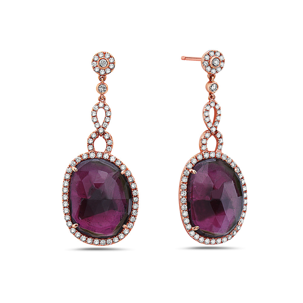 18K Rose Gold Ladies Earrings With White: 1.55 CTW Ruby: 18.38 CTW Diamonds