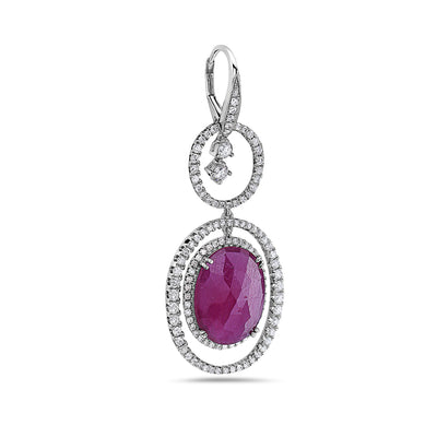 18K White Gold Ladies Earrings With White: 2.86 CTW Ruby: 13.24 CTW Diamonds