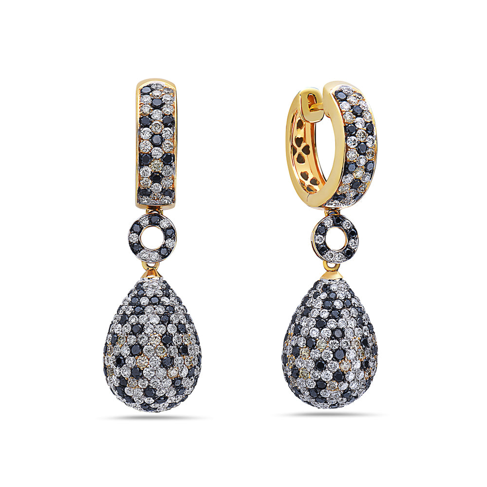18K Yellow Gold Ladies Earrings With Diamonds