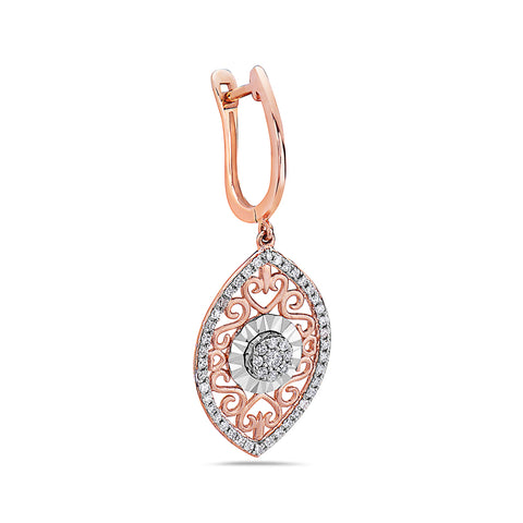18K Rose Gold Ladies Earrings With 0.49 CT Diamonds