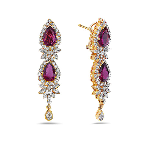 18K Yellow Gold  Tears Shaped Ladies Earrings With White Diamonds and Ruby