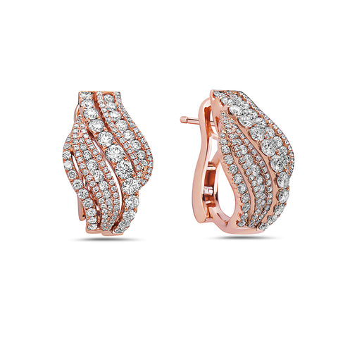 18K Rose Gold Ladies Earrings With 3.05 CT Diamonds