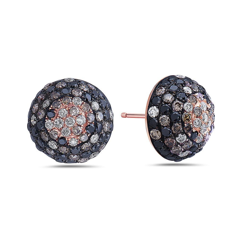 18K Rose Gold Ladies Earrings With 4.15 CT Diamonds