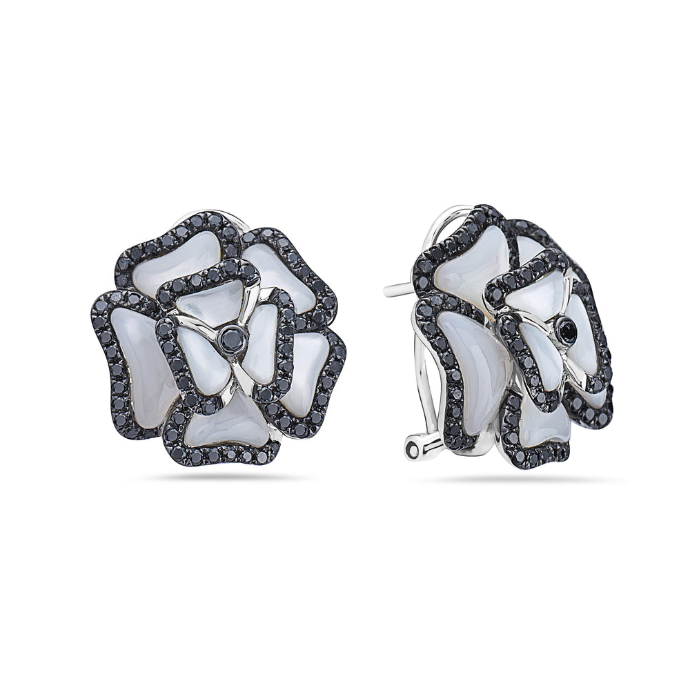 18K White Gold Flower Shaped Ladies Earrings With Black Diamonds