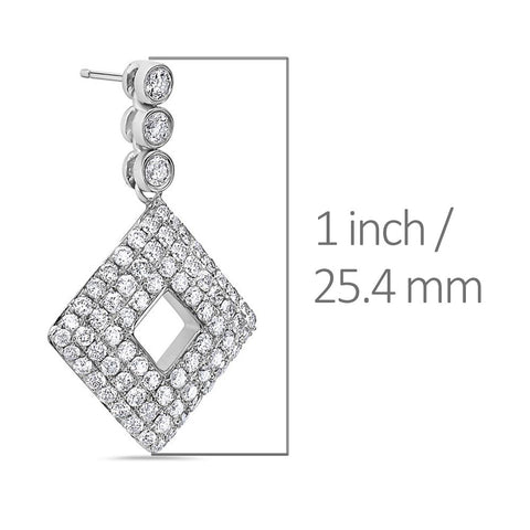 14K White Gold Ladies Earrings With 2.95 CT Diamonds
