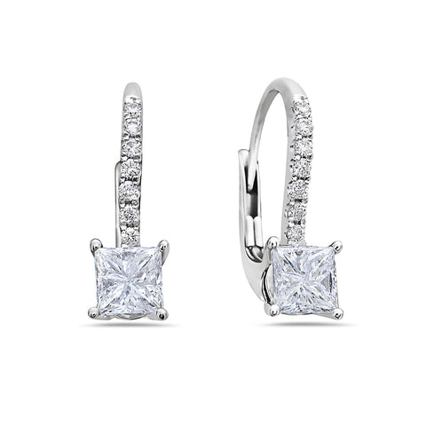 18K White Gold Ladies Earrings With 1.07 CT Diamonds