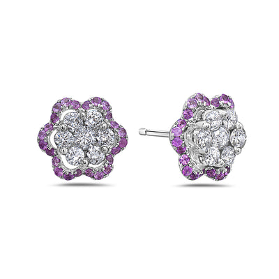 18K White Gold Ladies Earrings With 1.25 CT Diamonds