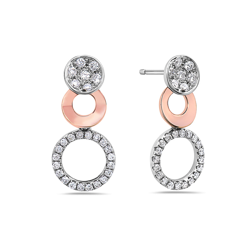 18K White Gold Round Shaped Ladies Earrings With Diamonds