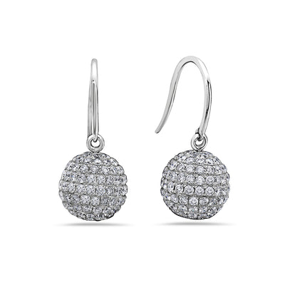 18K White Gold Ladies Earrings With 3.00 CT Diamonds