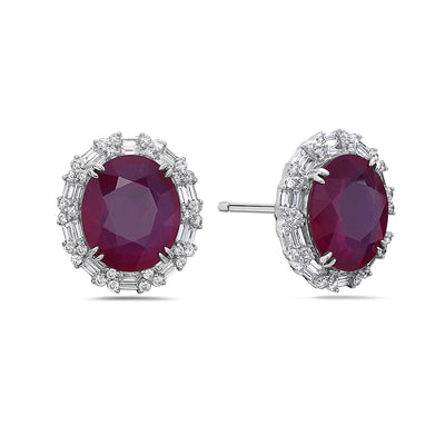18K White Gold Ladies Earrings With White: 5.95 CTW Ruby: 57.89 CTW Diamonds