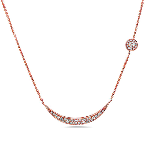 18K Rose Gold Women's Necklace With 0.28 CT Diamonds