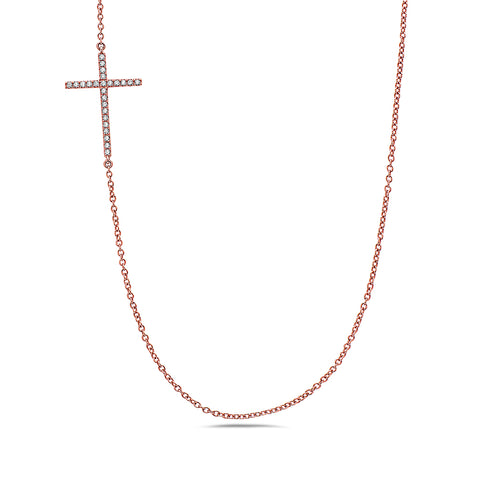 18K Rose Gold Cross Women's Necklace With 0.24 CT Diamonds