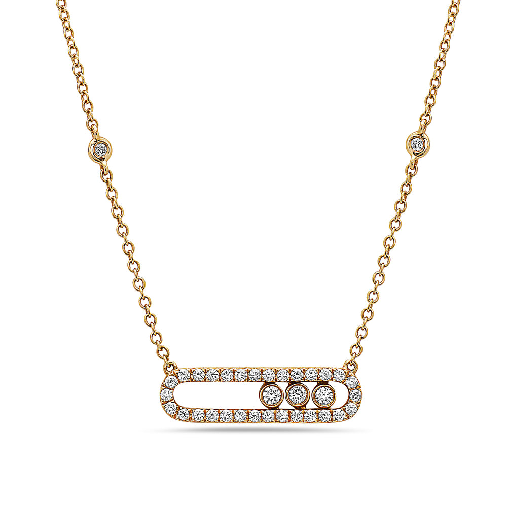 18K Yellow Gold Women's Necklace With 0.70 CT Diamonds