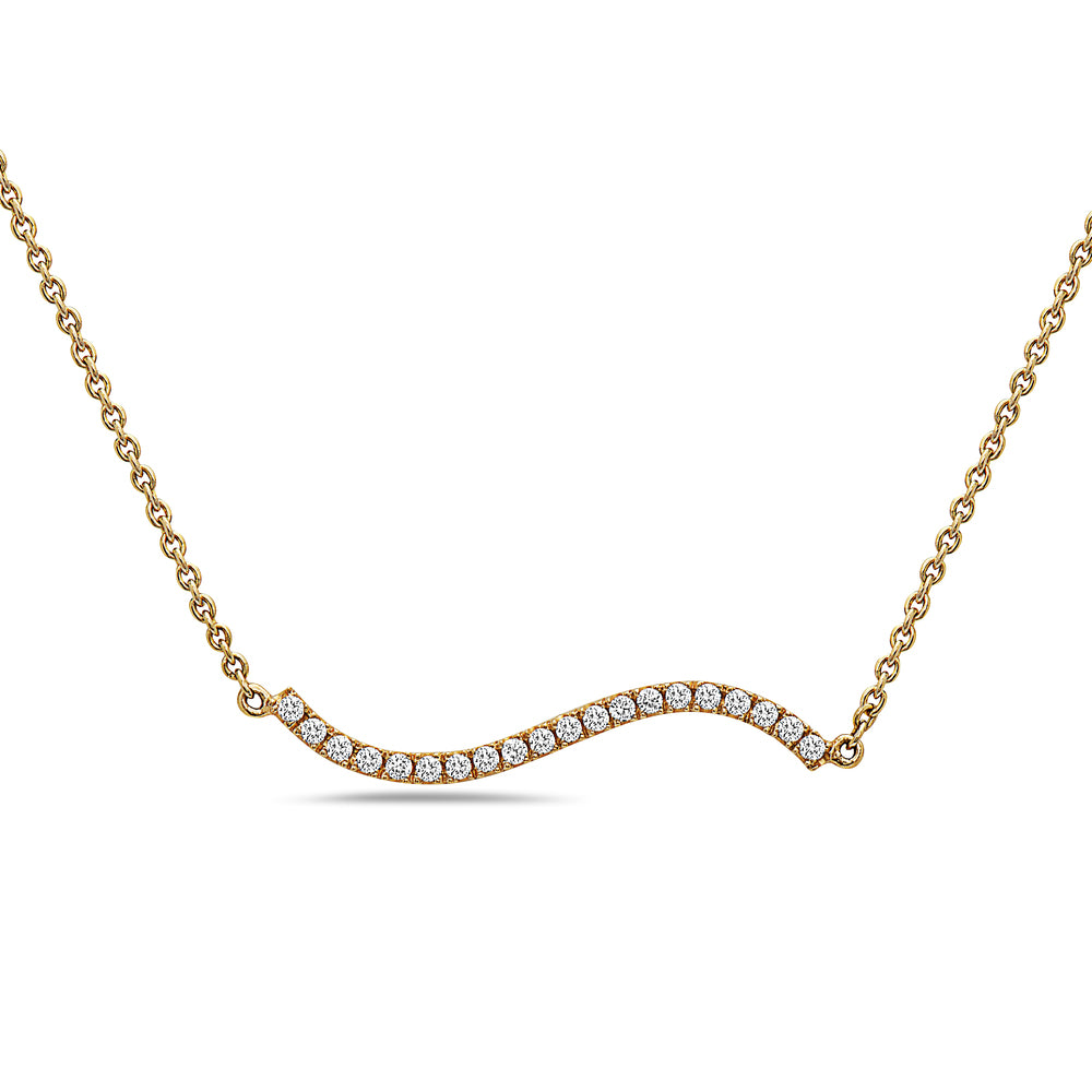 18K Yellow Gold Wave Women's Necklace With 0.18 CT Diamonds