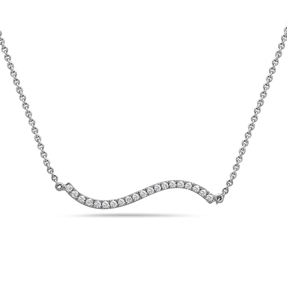 18K White Gold Wave Women's Necklace With 0.18 CT Diamonds