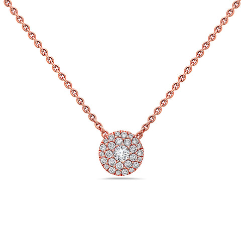 18K Rose Gold Disc Women's Necklace With 0.25 CT Diamonds