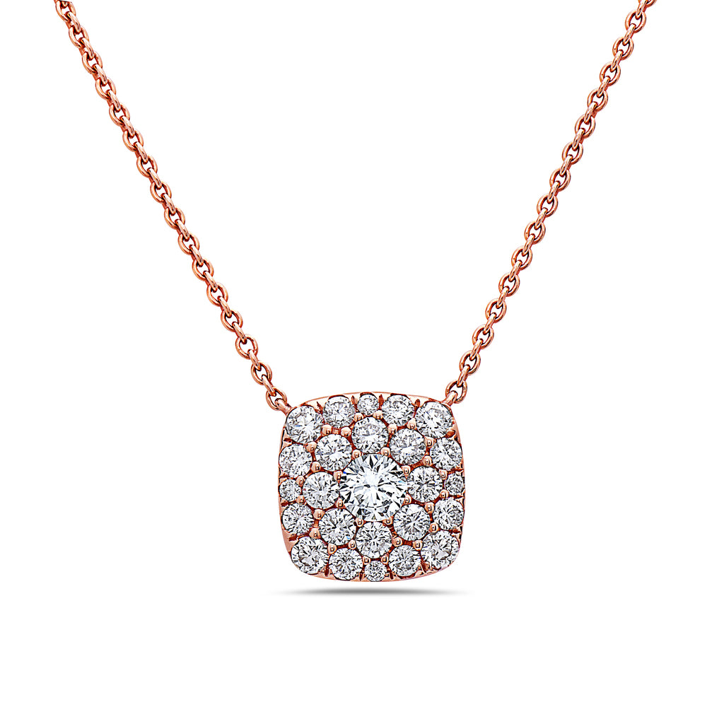 18K Rose Gold Square Women's Necklace With 1.00 CT Diamonds