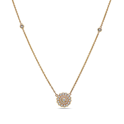 18K Yellow Gold Mandala Women's Necklace With 0.47 CT Diamonds