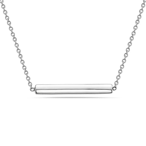 18K White Gold Floating Bar Women's Necklace