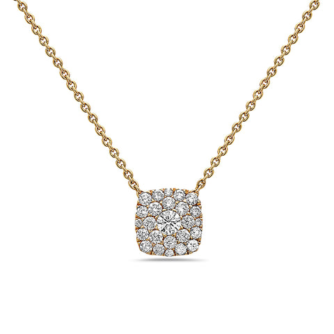18K Yellow Gold Square Women's Necklace With 0.51 CT Diamonds