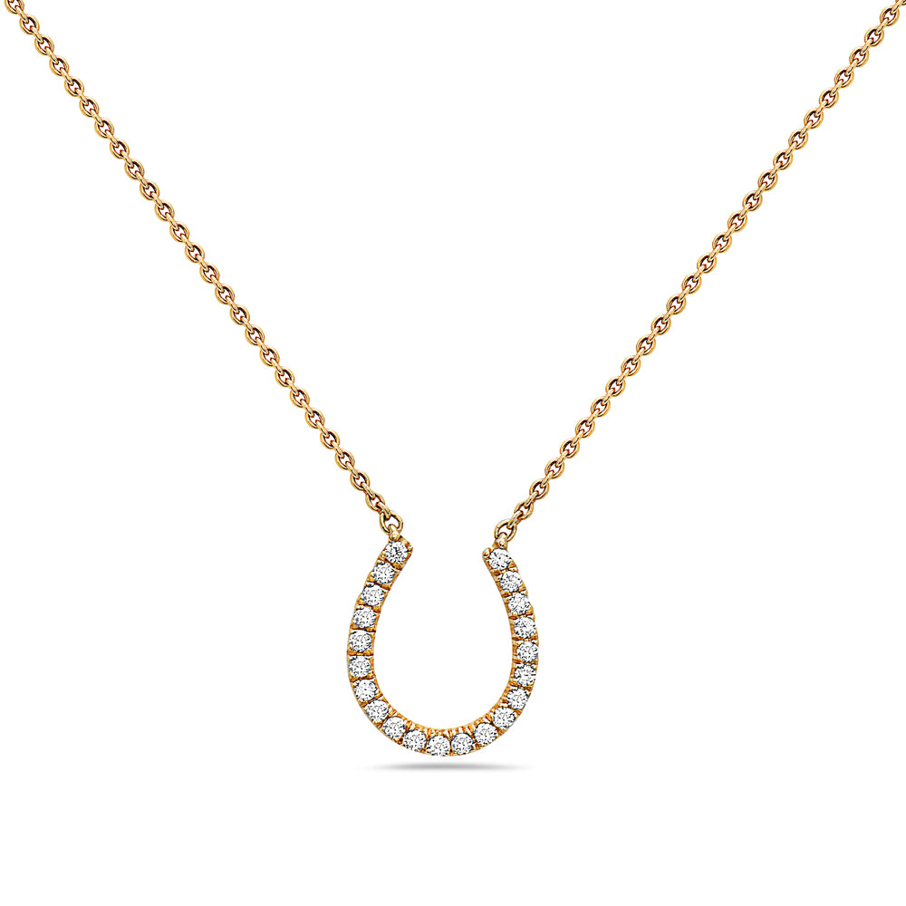 18K Yellow Gold Horseshoe Women's Necklace With 0.17 CT Diamonds