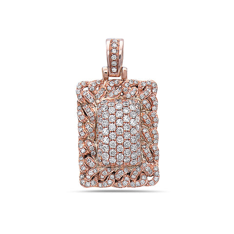 14K Rose Gold Cuban Link Dog Tag with 1.00 CT Diamonds