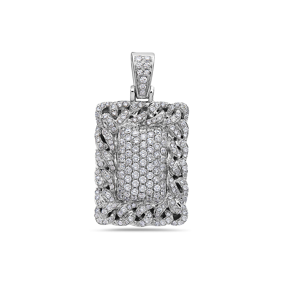 Men's 14K White Gold Cuban Link Dog Tag with 1.70 CT Diamonds