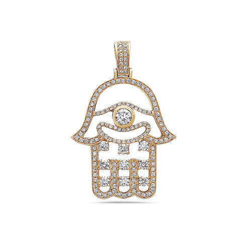 Men's 14K Yellow Gold Hamsa Pendant with 2.12 CT Diamonds