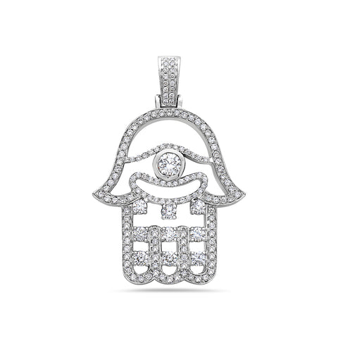 Men's 14K White Gold Hamsa Pendant with 2.02 CT Diamonds