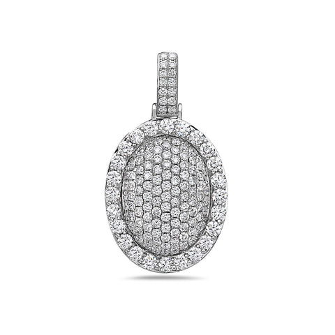 Men's 14K White Gold Oval Pendant with 3.25 CT Diamonds