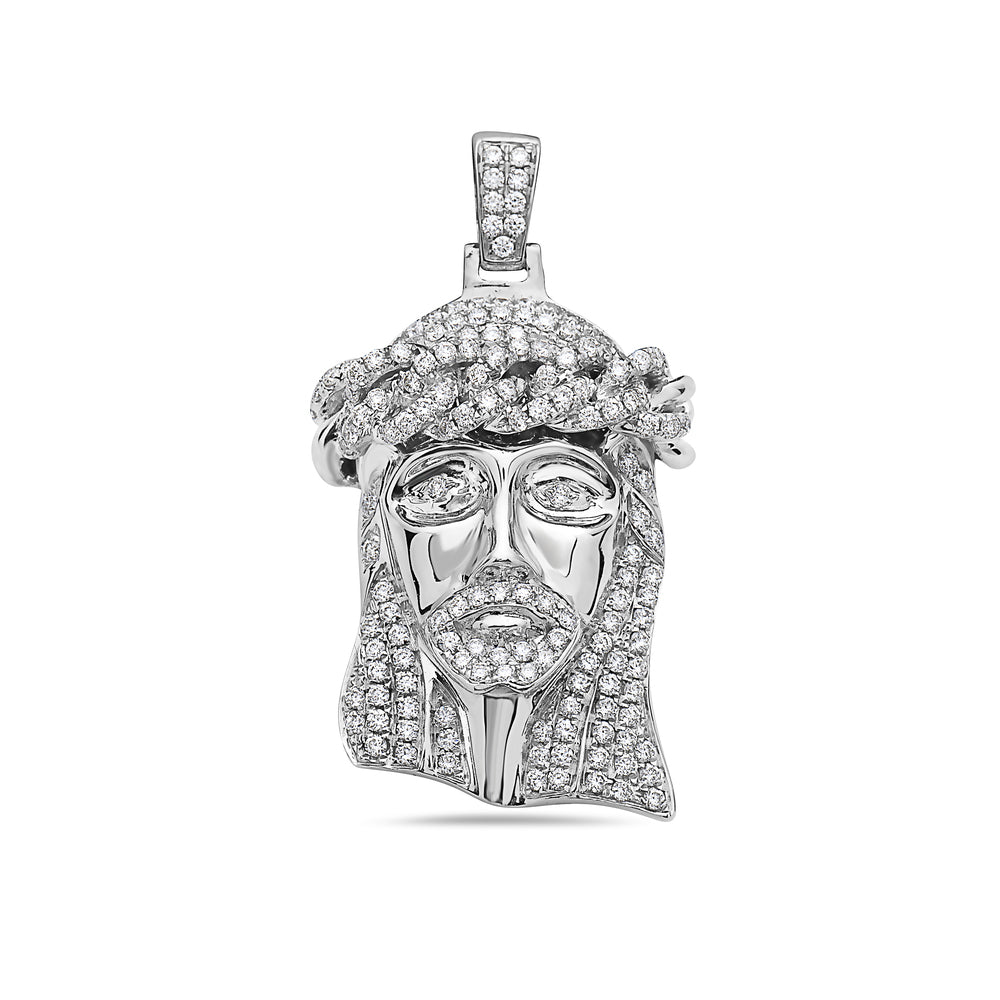 Men's 14K White Gold Jesus Head Pendant with 1.37 CT Diamonds