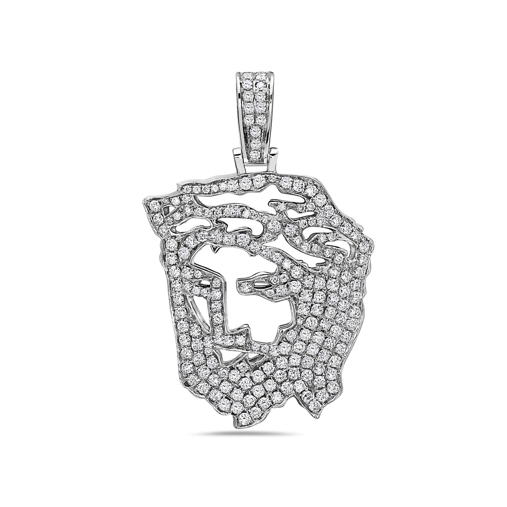 Men's 14K White Gold Jesus Head Pendant with 2.29 CT Diamonds