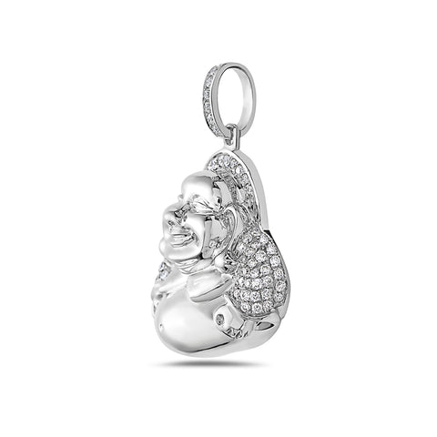 14K White Gold Fat Buddha Women's Pendant With 0.82 CT Diamonds