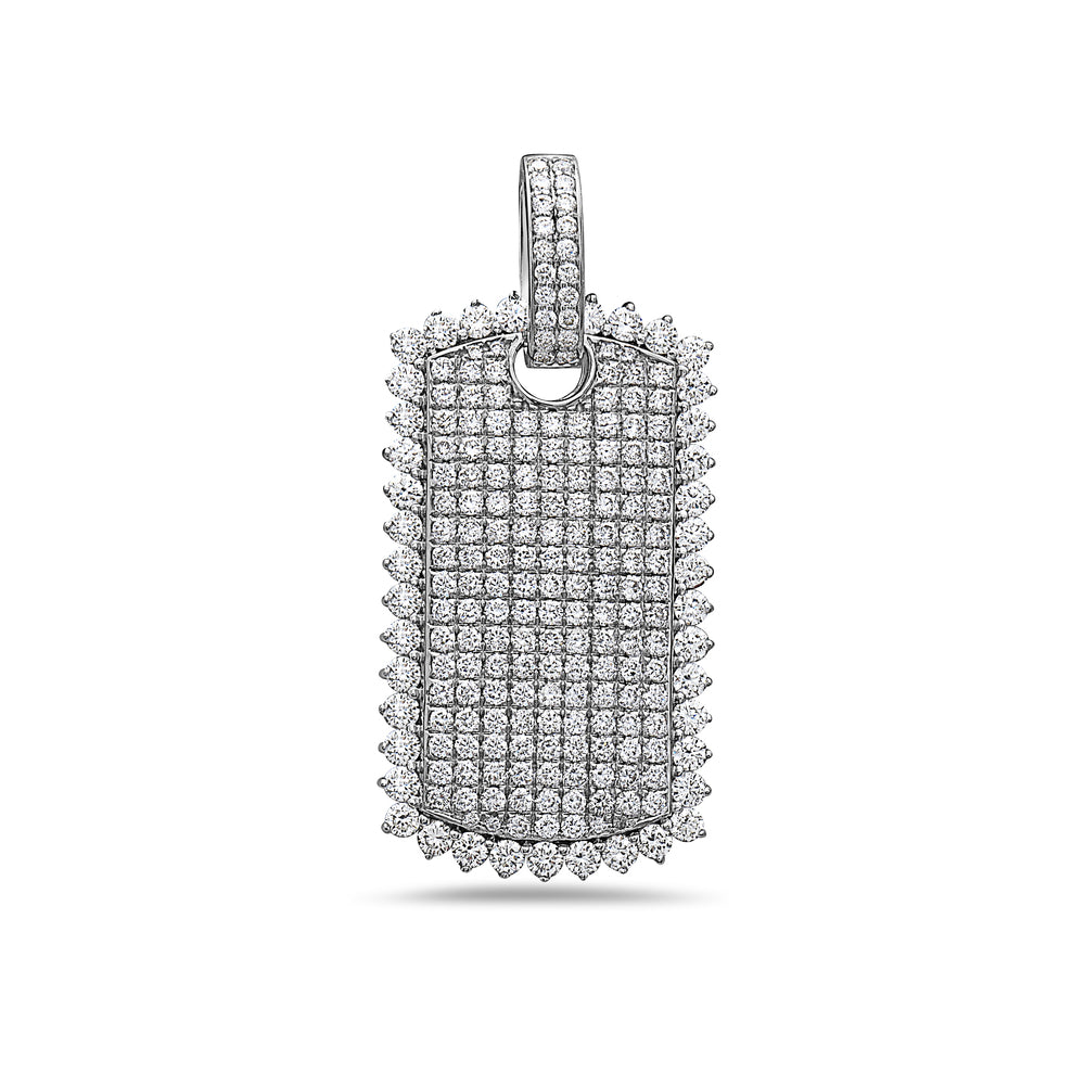 Men's 14K White Gold Dog Tag Pendant with 3.07 CT Diamonds
