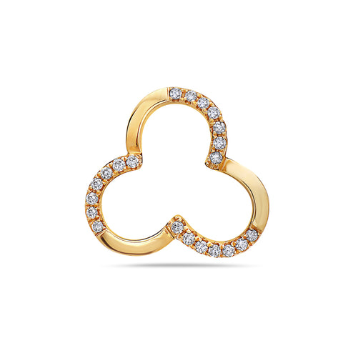 18K yellow Gold Clover Women's Pendant With 0.15 CT Diamonds