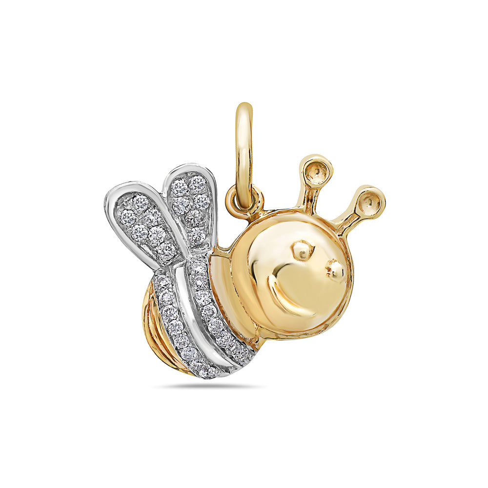 14K White & Yellow Gold Bee Women's Pendant With 0.15 CT Diamonds