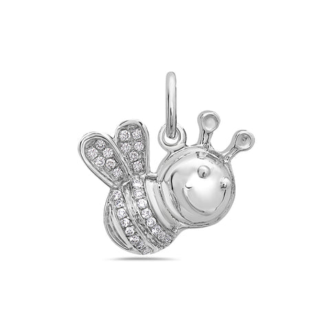 14K White Gold Bee Women's Pendant With 0.15 CT Diamonds