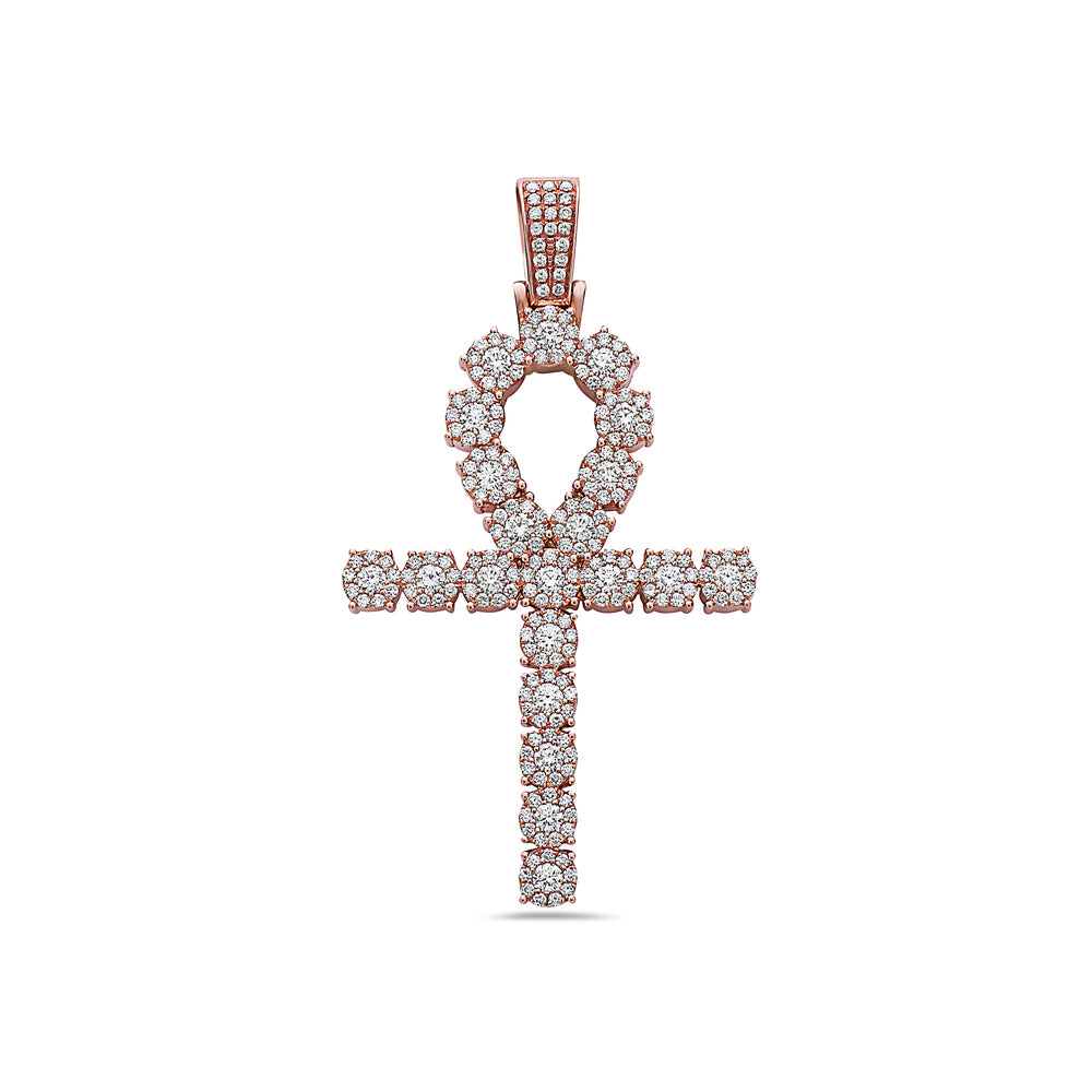 Unisex 14K Rose Gold Pendant with 4.10 CT Diamonds