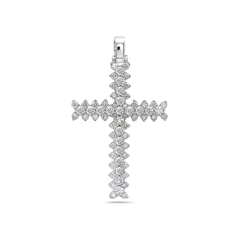 Unisex 14K White Gold Cross Pendant with 2.30 CT Diamonds
