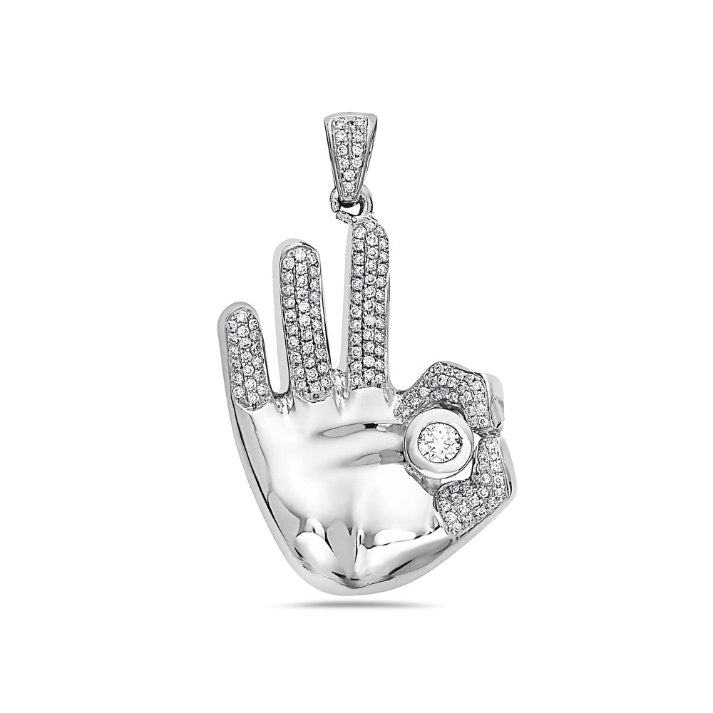 14K White Gold OM Hand Women's Pendant With 0.76 CT Diamonds
