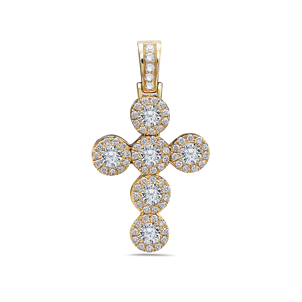 Unisex 14K Yellow Gold Cross Pendant with 1.41 CT Diamonds