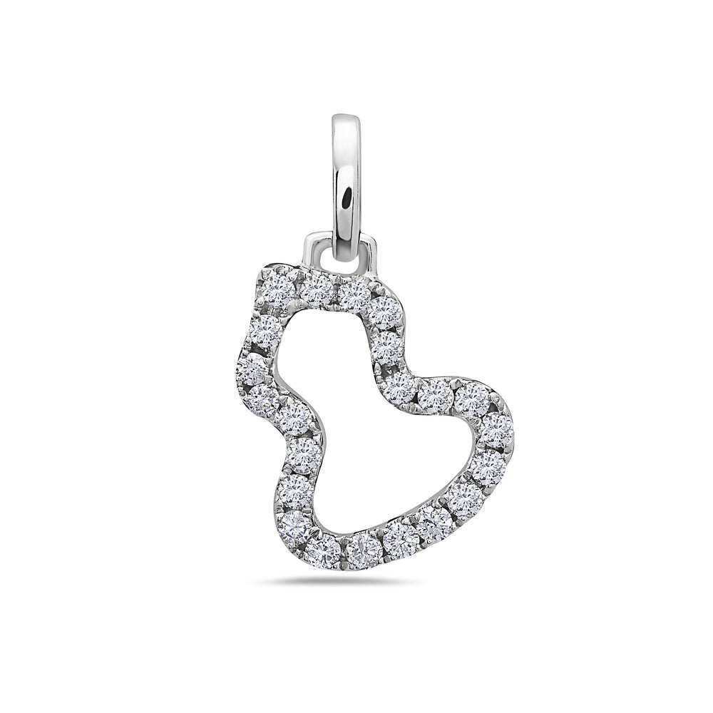 18K White Gold Floating Shape Women's Pendant With 0.24 CT Diamonds