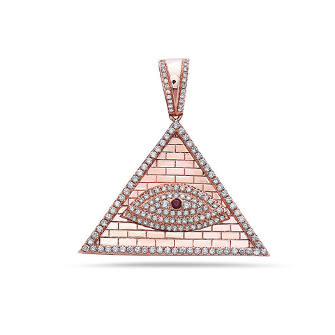 14K Rose Gold Eye of Providence Pendant with 1.92 CT Diamonds
