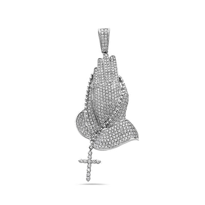14K White Gold Praying Hands Women's Pendant With 4.55 CT Diamonds