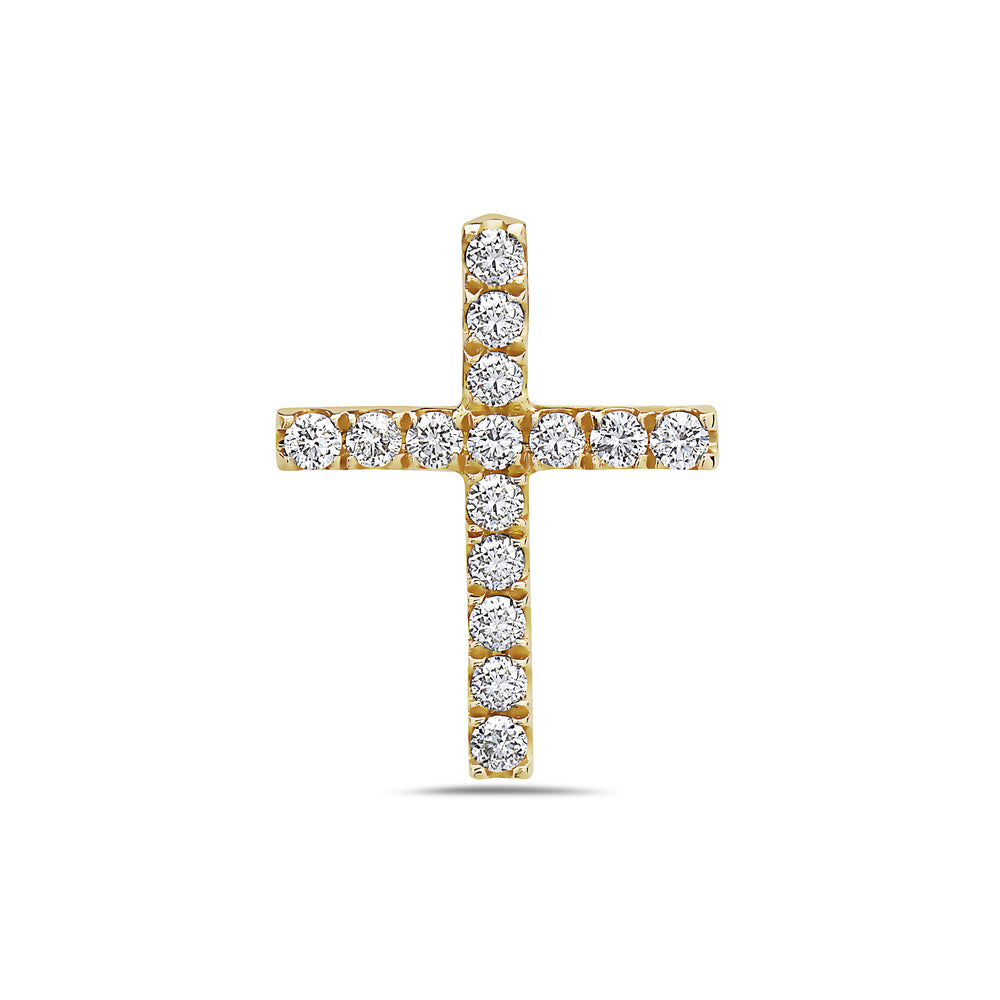 Unisex 18K Yellow Gold Cross Pendant with 0.30 CT Diamonds